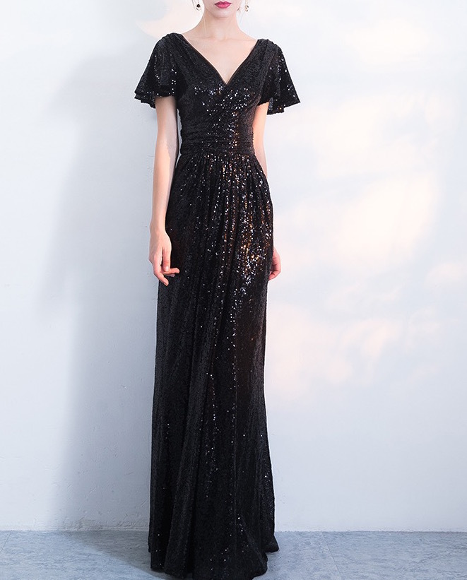BLACK Sleeved High Waist Maxi Sequin Dress Floor Length Sequin Wedding Dresses