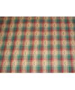 Homespun Cotton Fabric Reds, Greens and Eggshell Plaid Designs - $10.00