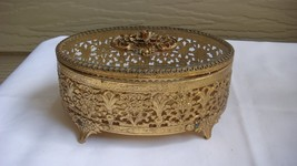 VINTAGE FILIGREE OVAL JEWELRY CASKET TRINKET BOX GLASS LID - $49.50