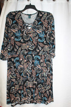 NEW WOMENS PLUS SIZE 3X FLORAL PAISLEY LACE-UP TOP BOHO HIPPIE AIRY SUMM... - $19.34