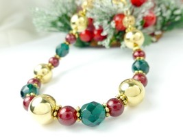 Gold green and red beaded holiday christmas bracelet e9c8dd21 1  thumb200