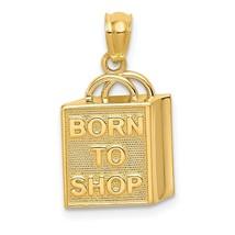 14k Yellow Gold Shopping Bag Born to Shop Charm Pendant 0.55 Inch - $115.45