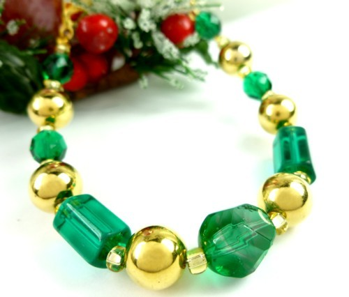 Round faceted green glass and gold beaded holiday christmas bracelet 60749003 1