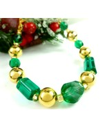 Round Faceted Green Glass and Gold Beaded Holiday Christmas Bracelet - $17.00