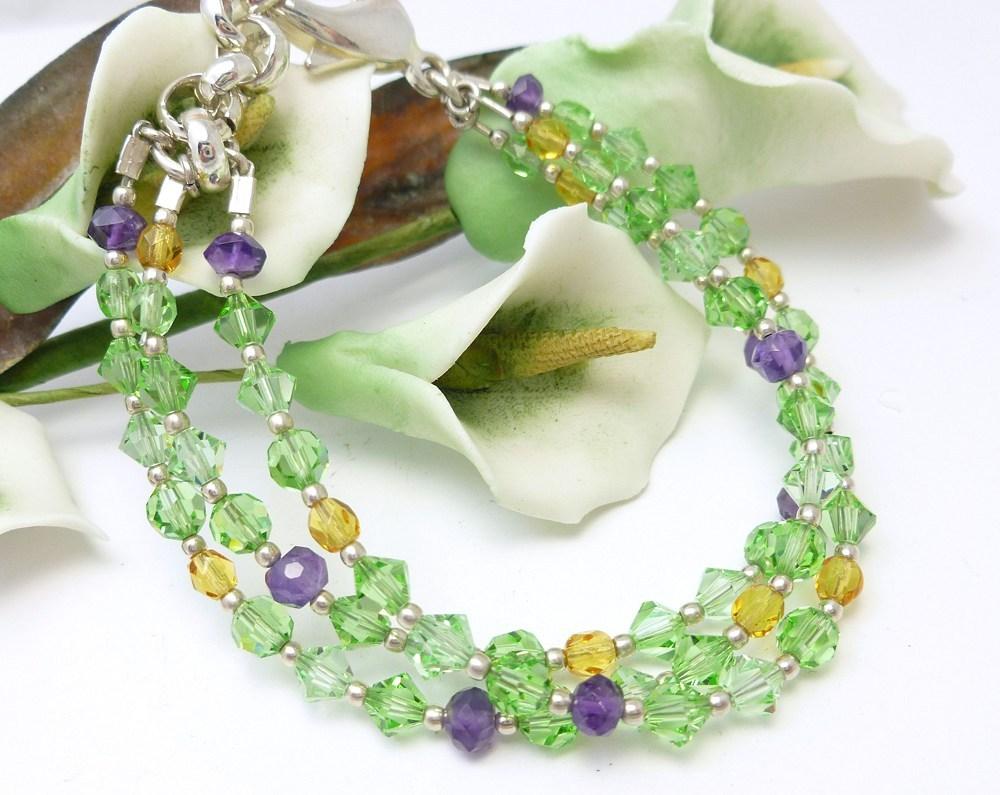 Amethyst peridot citrine swarovski crystal three strand bracelet 797a1f8d 576124 1