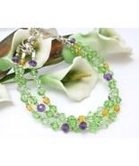 Amethyst, Peridot, Citrine Swarovski Crystal Three Strand Bracelet - $30.00