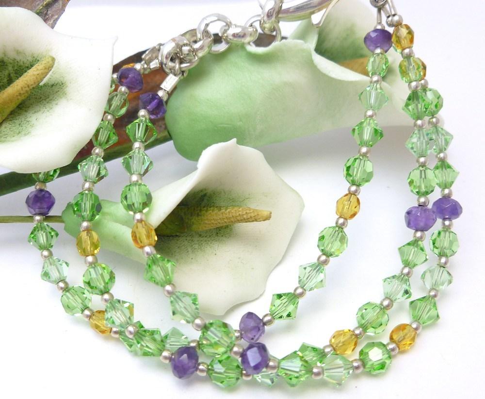 Amethyst peridot citrine swarovski crystal three strand bracelet 9732561c 717969 1