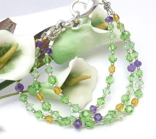 Amethyst peridot citrine swarovski crystal three strand bracelet dc444aa5 975748 1