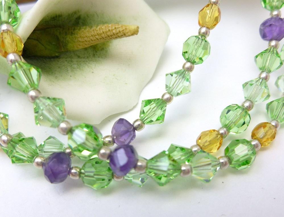Amethyst peridot citrine swarovski crystal three strand bracelet e9100d05 230701 1