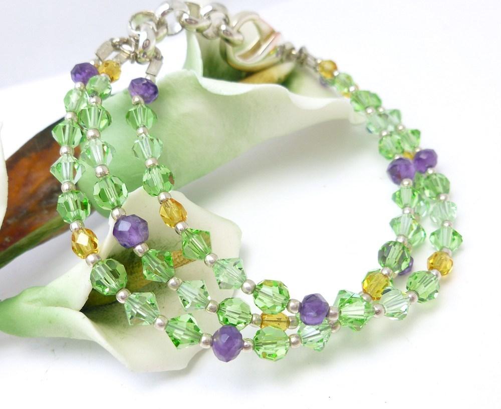 Amethyst peridot citrine swarovski crystal three strand bracelet dd295561 220239 1