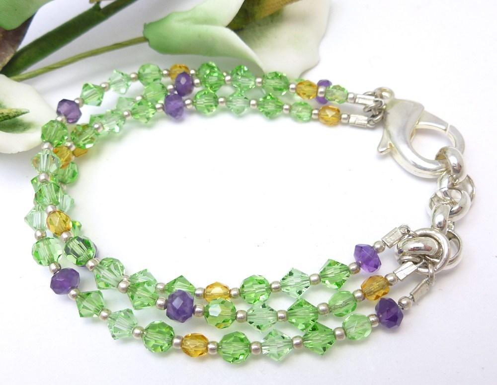 Amethyst, Peridot, Citrine Swarovski Crystal Three Strand Bracelet