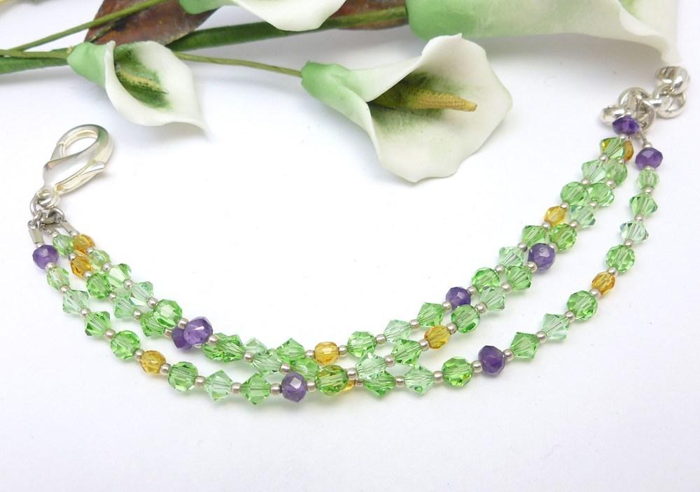 Amethyst peridot citrine swarovski crystal three strand bracelet fdb3a591 757600 1