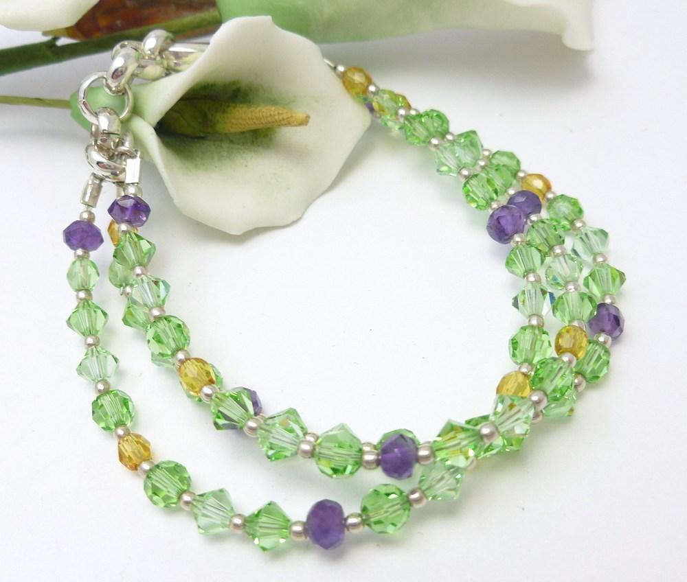 Amethyst peridot citrine swarovski crystal three strand bracelet a054334c 474534 1