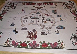 Australia Country Tablecloth Banner Fabric Map Cities Stitchcraft Native... - $29.69