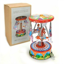 TIN TOY CAROUSEL Pigs Dogs Merry Go Round Lever Action Retro Vintage Sty... - $16.95