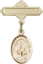 14K Gold Baby Badge with Lord Is My Shepherd Charm Pin 1 X 5/8 inch - $437.28