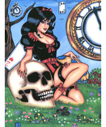 goth pinup girl alice in wonderland original art print skull fantasy pin... - $7.99