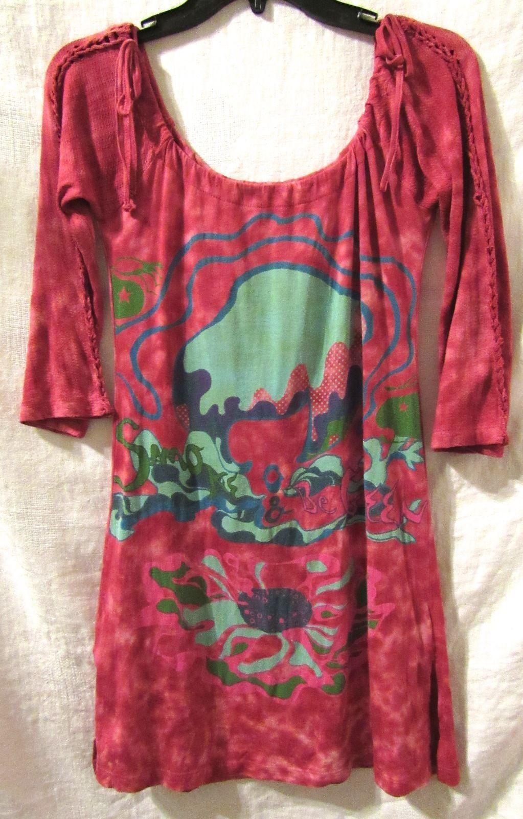 Custo Barcelona Clothing Cotton Printed Tie Dye Dress/Tunic Top 3/4 Sleeve S: 2