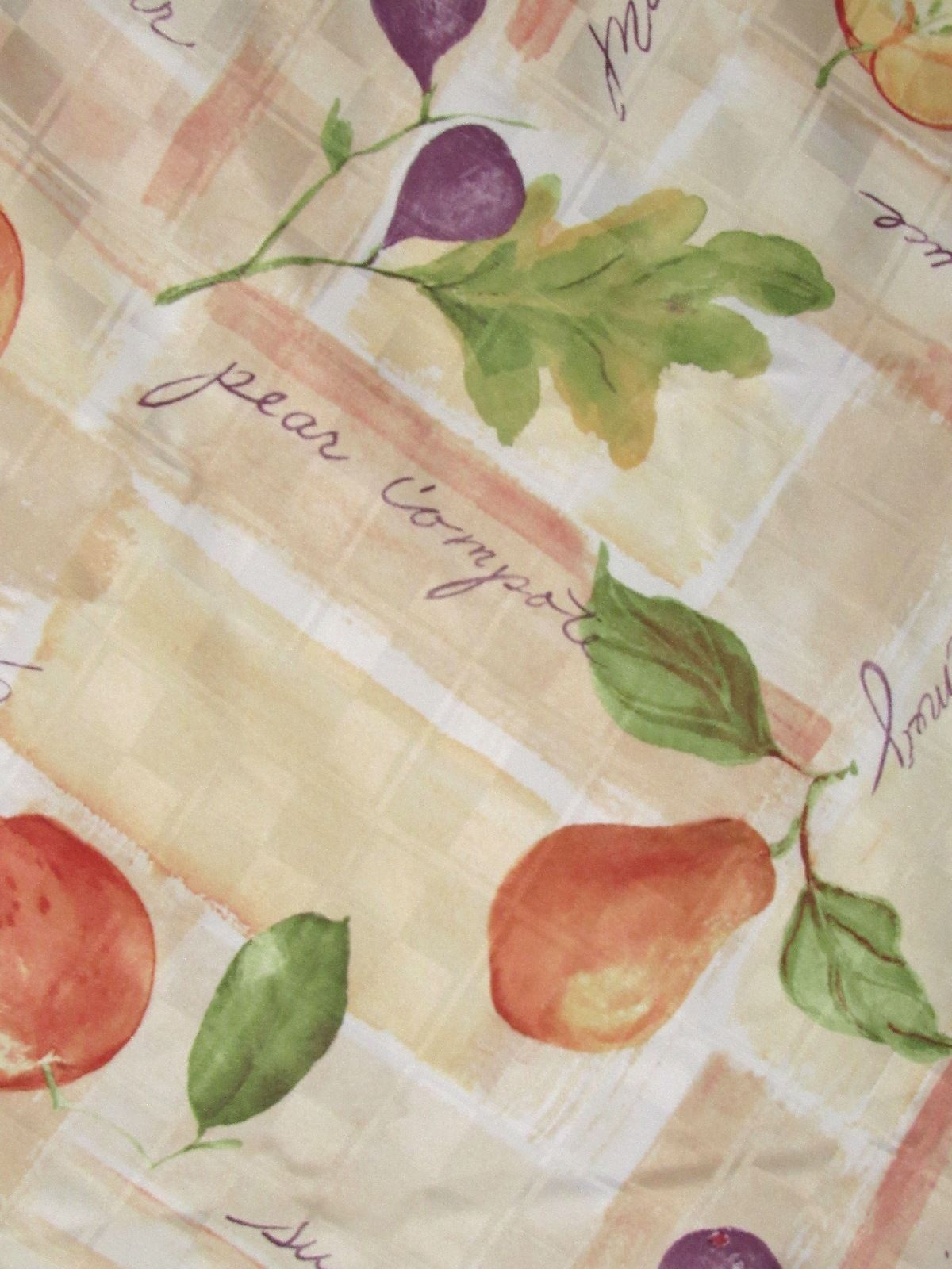 """Food Network Fabric Tablecloth 72"""" x 70"""" Round Orchard Fruit Pattern Microfiber"""