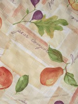 "Food Network Fabric Tablecloth 72"" x 70"" Round Orchard Fruit Pattern Microfiber"