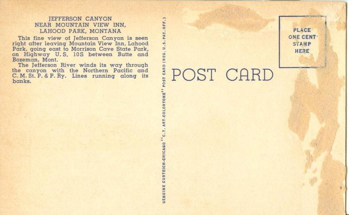 Jefferson Canyon near Mountain View Inn, Lahood Park, Montana, unused Postcard