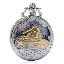 Deffrun Vintage Style Silver Case Unisex Watch 3D Design Cover Pocket Wa... - $7.86