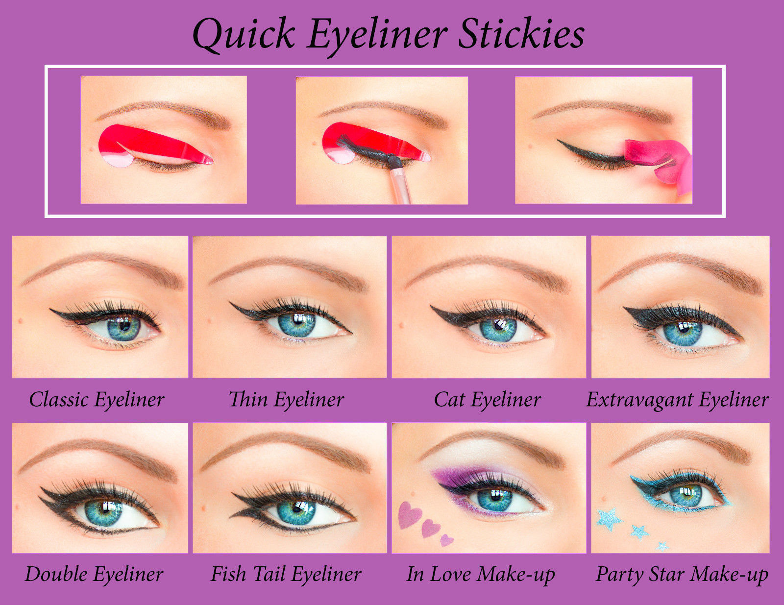 Quick Eyeliner Stickies Stencil Cosmetic Eye Makeup Tool NEW Free Shipping CA2