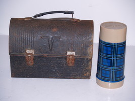 """Vintage Thermos Metal Dome """"V"""" Lunch Box with Plaid Aladdin Thermos - $39.19"""
