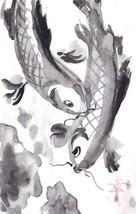 Akimova: FISH black&white,animal, ink, chineese brush - $7.00
