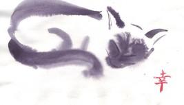 Akimova: SLEEPING CAT black&white, animal, ink, chineese brush - $7.00