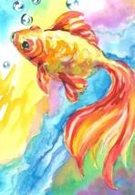 "Akimova: GOLDFISH,  animal, bubbles, watercolor, 5""x7"" - $8.00"