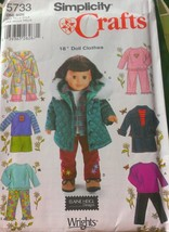 "Simplicity 5733 Casual Clothes 18""Doll Suchas American Doll Sewing Pattern UNCUT - $6.75"