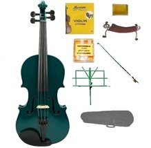 Crystalcello 1/8 Size Acoustic Green Violin,Green Stick Bow,Green Music Stand - $70.00