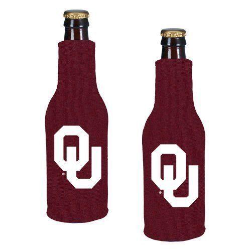 2 OKLAHOMA SOONERS BEER SODA WATER BOTTLE ZIPPER KOOZIE COOLIE HOLDER NCAA