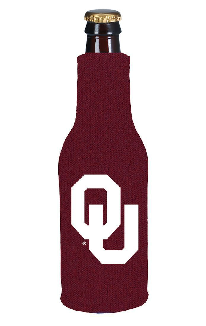OKLAHOMA SOONERS BEER SODA WATER BOTTLE ZIPPER KOOZIE COOLIE HOLDER
