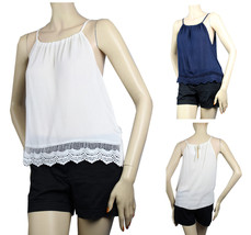 Lace Trim Spaghetti  String Sexy Tank Top Key hole Casual Layering T-Shirt S-XL - $14.99