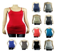 Plus Basic Long SPAGHETTI Strap Cami Tank Top Tunic Layer Bodycon Cotton... - $5.99