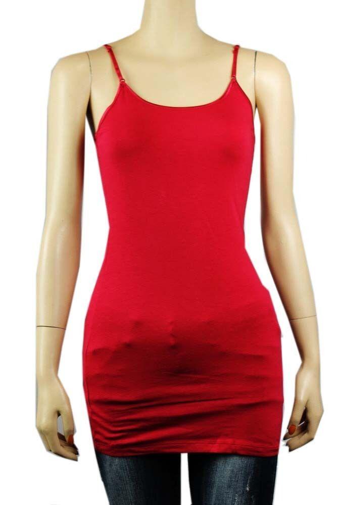Plus Basic Long SPAGHETTI Strap Cami Tank Top Tunic Layer Bodycon Cotton/Spandex