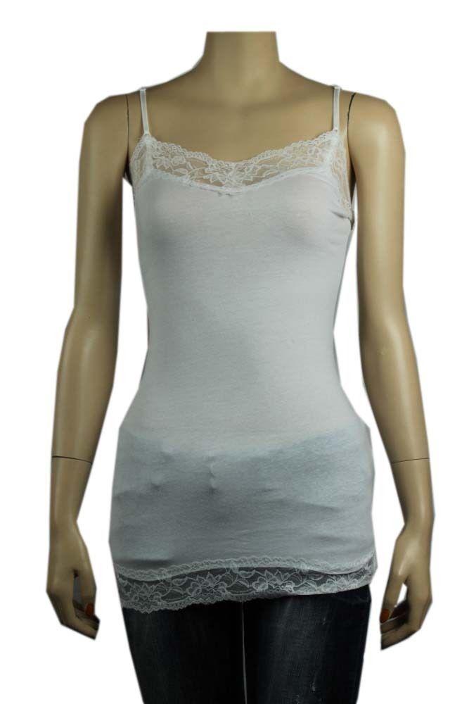 S-3X 18Col Lace Trim SPAGHETTI TANK TOP Adjust Strap Long Layer Cami Tunic Top