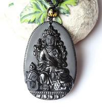 natural Obsidian stone  buddha guanyin zen gift pendant - $19.79