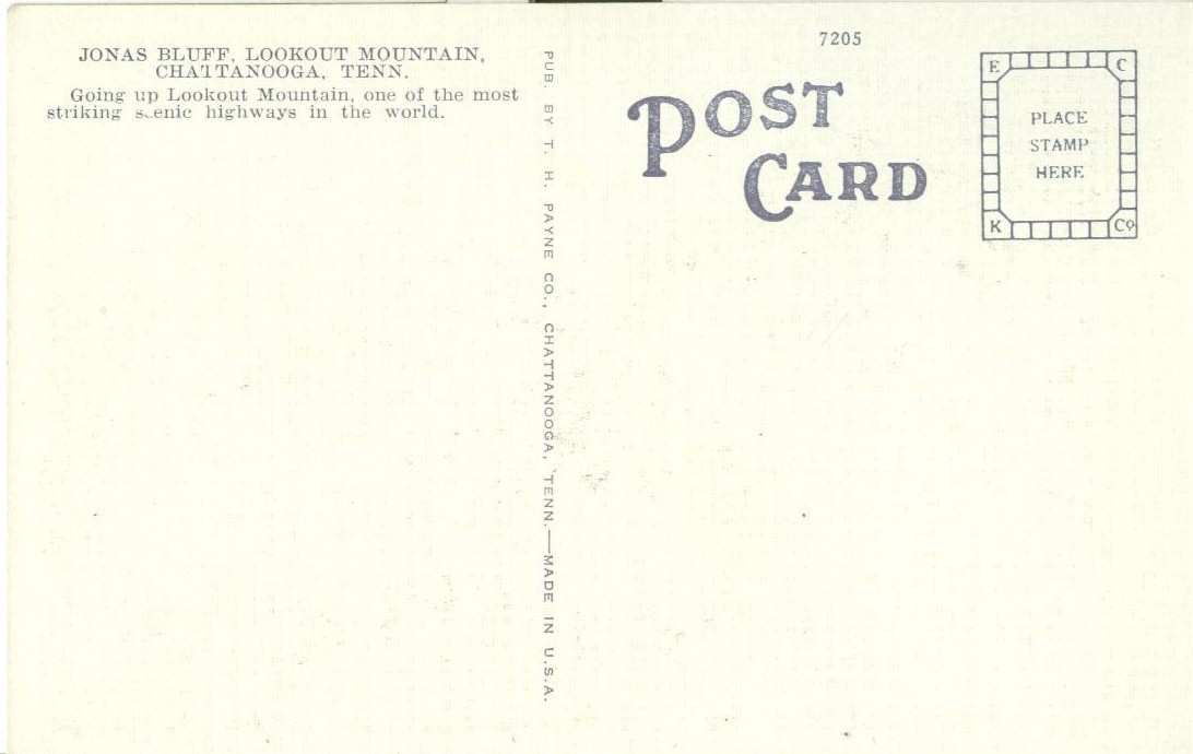 Jonas Bluff, on Lookout Mountain, Chattanooga, Tennessee, 1920s unused Postcard