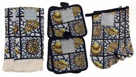 Shells Seashells Oven Mitt Gloves Pot Holders Towels Set 8 Home Concepts... - $24.99