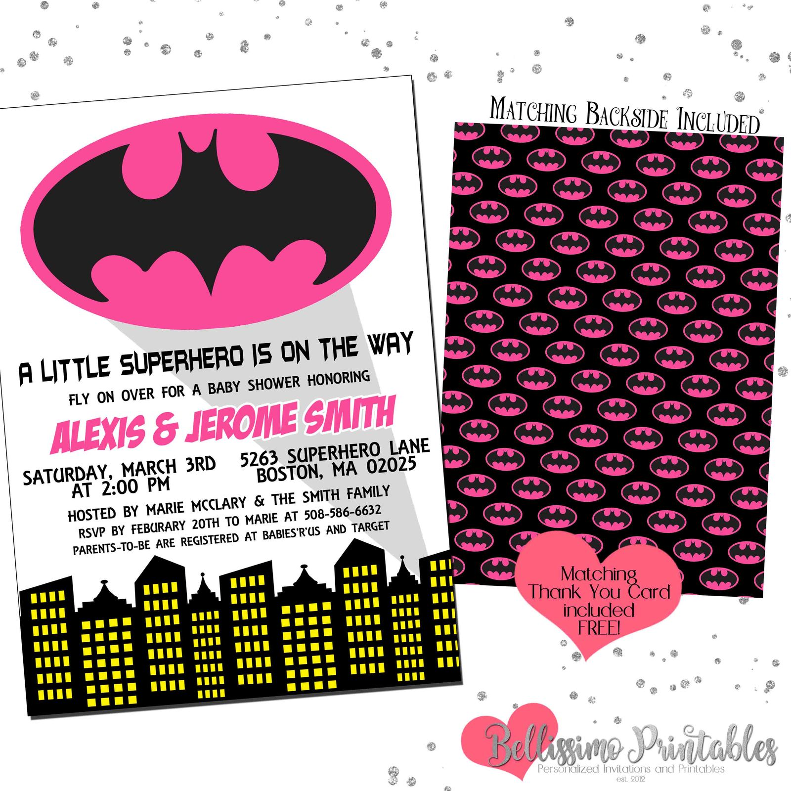 graphic regarding Batgirl Logo Printable called Batman Batgirl Purple Female Child Shower and 50 identical goods