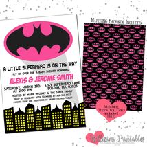 Batman Batgirl Pink Girl Baby Shower Invitation PRINTABLE FREE thank you - £9.07 GBP