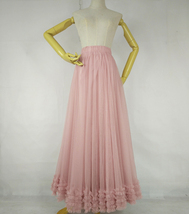 Pink Layered Tulle Ruffle Skirt Pink Bridesmaid Tulle Skirt Plus Size image 4