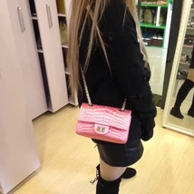Authentic Chanel Classic 2.55 Reissue Mini Double Flap Bag Pink Silk GHW image 8