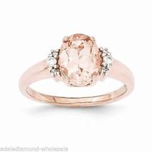 NEW Huge 1.7cts Oval Cut Morganite & Diamond Solid 14K Rose Gold Engagem... - £465.45 GBP