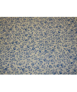 Cotton Fabric Wlhite with Blue Wild Flowers. - $10.00