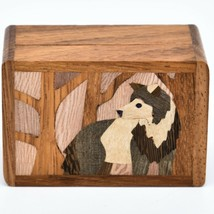 Northwoods Wooden Parquetry Country Rustic Standing Wolf Mini Trinket Box image 2