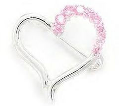 Cut Out Heart Design Fashion Pin With Pink CZ's - $24.99